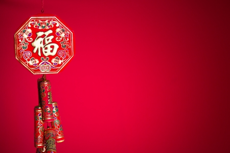Photo pour fire Crackers for Chinese new year greeting   - image libre de droit