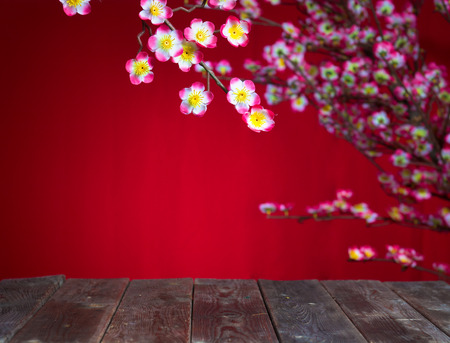 Photo pour chinese new year deocration with blank wood copyspace for design purpose - image libre de droit