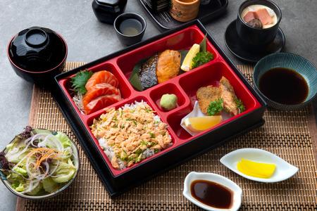Photo for Japanese bento set with teriyaki salmon and tempura - Royalty Free Image