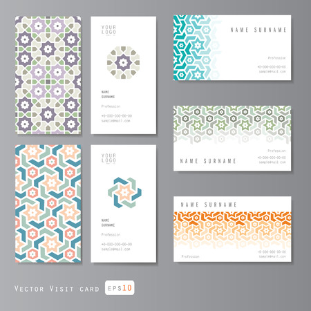Illustration pour Visit cards set with islamic ornament - image libre de droit