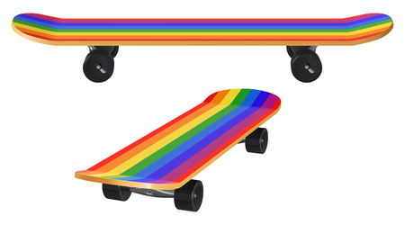 Illustration for Wooden skateboard with rainbow coloring and black wheels, two foreshortening on a white background. - Royalty Free Image