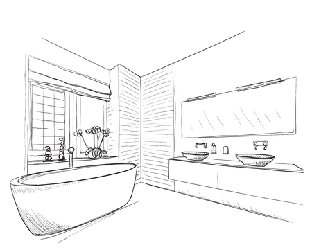 Ilustración de Hand drawn Bathroom with mirror, washbasin and other furniture. - Imagen libre de derechos