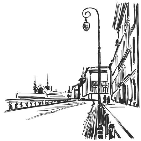 Illustration pour Vector cartoon sketchy drawing of city. - image libre de droit