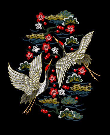 Illustration pour Japanese white cranes with red flowers. Embroidery vector. - image libre de droit