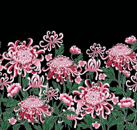 Illustration for Set of botanical flowers chrysanthemum. Vector hand draw golden-daisy illustration - Royalty Free Image