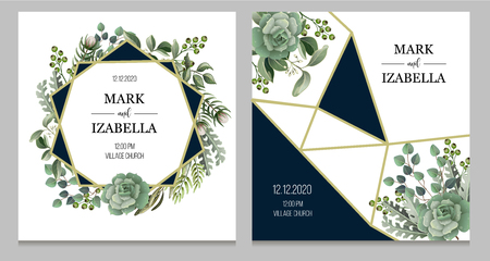 Illustration pour Wedding invitation with leaves, succulent and golden elements in watercolor style. Eucalyptus, magnolia, fern and other - image libre de droit