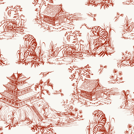 Illustrazione per Seamless pattern in chinoiserie style for fabric or interior design - Immagini Royalty Free
