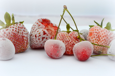 Photo for Frozen berries - strawberries and cherries - Royalty Free Image