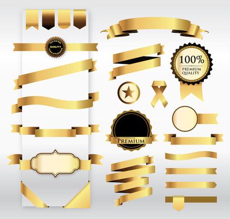 Illustration pour Gold Ribbon with Tag  - image libre de droit