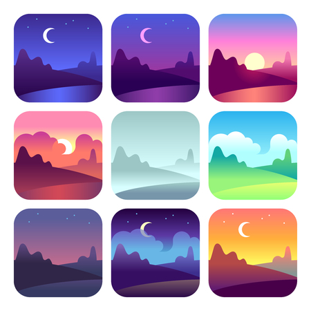 Illustration for Various day times. Early morning sunrise and sunset, noon and dusk night. Sun and moon time countryside landscape vector icons - Royalty Free Image