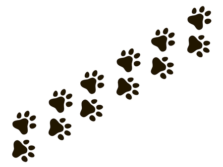 Ilustración de Cats paw trail. Footprints wolf cat dog, puppy trails nature print vector pattern and background - Imagen libre de derechos