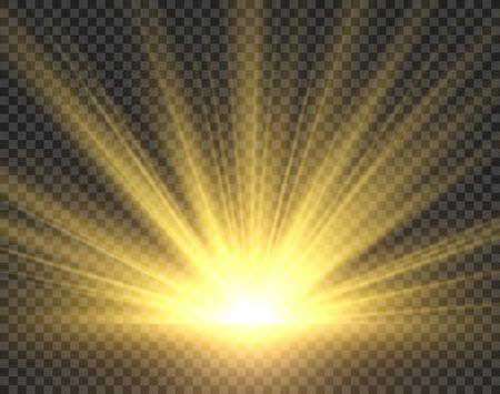 Ilustración de Sunlight isolated. Golden sun rays radiance. Yellow bright spotlight transparent sunshine starburst illustration - Imagen libre de derechos