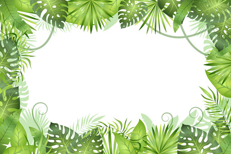 Illustration for Jungle background. Tropical leaves frame. Rainforest foliage plants, green grass trees. Paradise african wildlife jungle vector frame - Royalty Free Image
