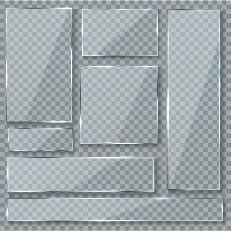 Ilustración de Glass plate. Glass texture effect window plastic clear transparent banners plates acrylic glossy signs isolated set - Imagen libre de derechos