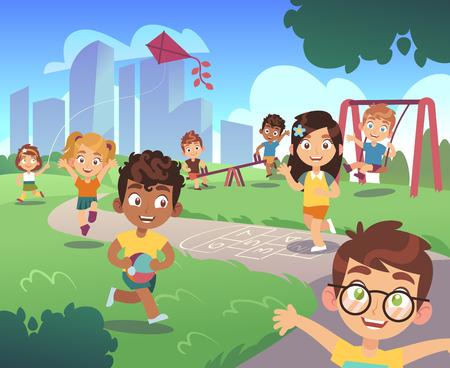 Illustration for Kids playground. Play children nature outdoor preschool kid playing garden fun activity entertainment swing cartoon vector background - Royalty Free Image