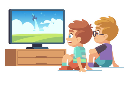 Illustration for Kids watch tv. Children movie home little boy girl watches tv set displaying picture screen character electric monitor cartoon vector concept - Royalty Free Image