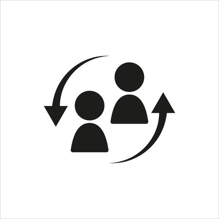Illustrazione per Staff turnover icon in simple black design Created For Mobile, Web, Decor, Print Products, Applications. Black icon isolated. Vector illustration. - Immagini Royalty Free