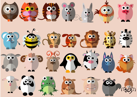Photo for Many kind of animal in Cute cartoon flat design - Royalty Free Image