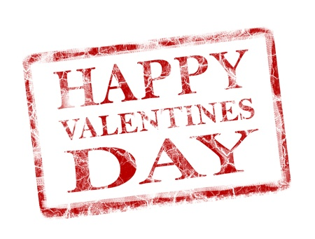 happy valentines day stamp on white background