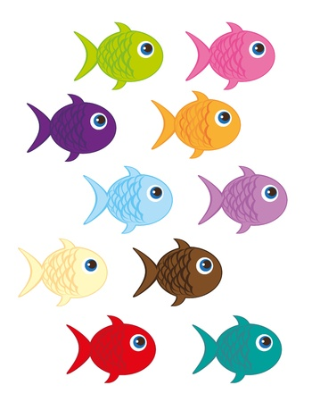 cute fish cartoon isolated over white background. vector