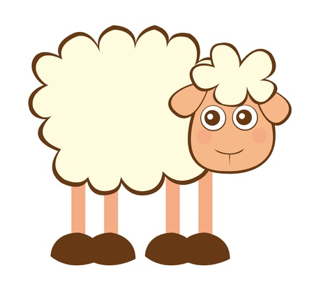 cute sheep cartoon isolated over white background. vector