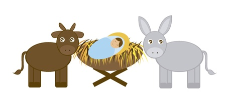 Illustration pour Baby Jesus with Donkey and ox isolated over white background. vector - image libre de droit