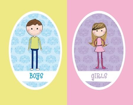 girls and boys circle sign restroom. illustration