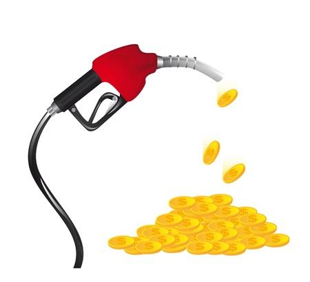 Illustration pour Gasoline fuel  with coins over white background.  - image libre de droit