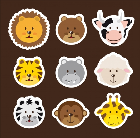 cute faces animals over brown background.