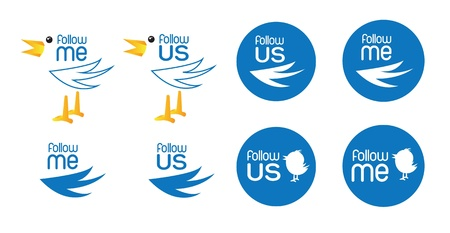 different bird symbol of inviting follow us