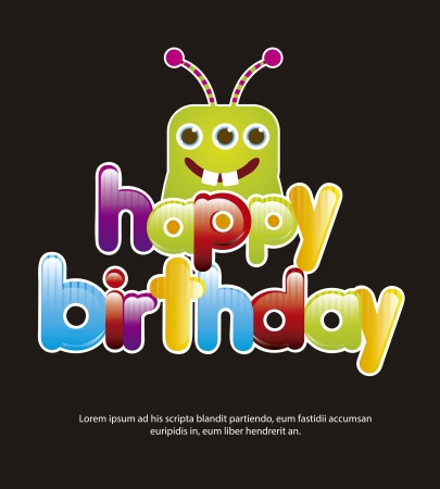 birthday card with cute monster over black background. vector