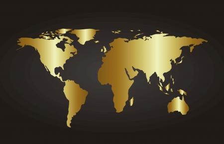 gold map over black background. vector illustration