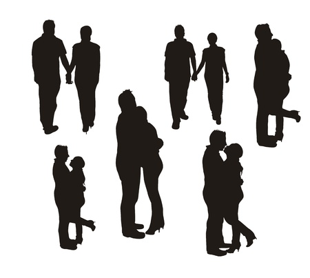 Photo for couple silhouette isolated over white background.  - Royalty Free Image