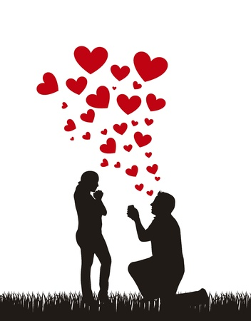 Illustration for couple silhouette with hearts, proposal wedding.  - Royalty Free Image
