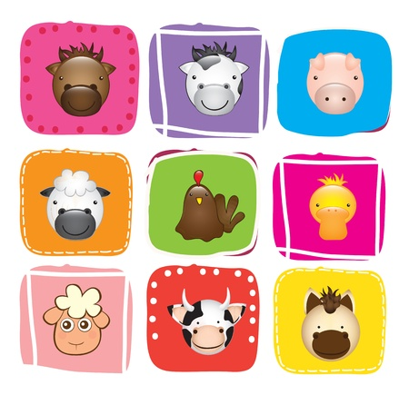 Different Animals over colors background vector illustration.