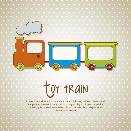 toy train over beige background. vector illustrion