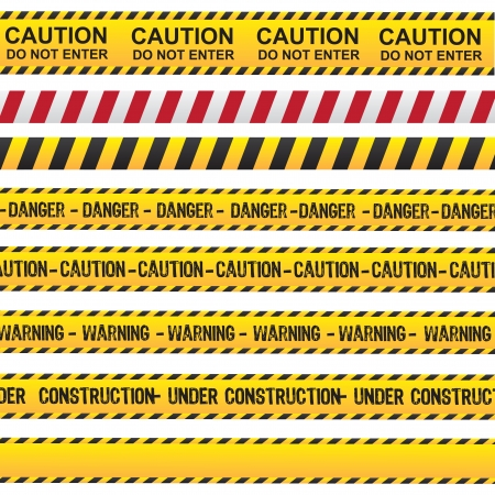 Photo for Caution and danger ribbon over white background vector illustration - Royalty Free Image