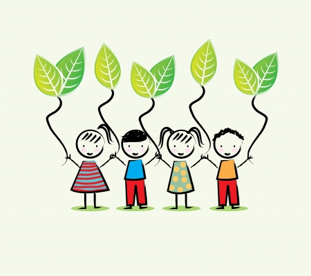 Illustration for environmentalists children over white background vector illustration - Royalty Free Image