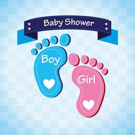 Ilustración de baby shower over blue background vector illustration  - Imagen libre de derechos
