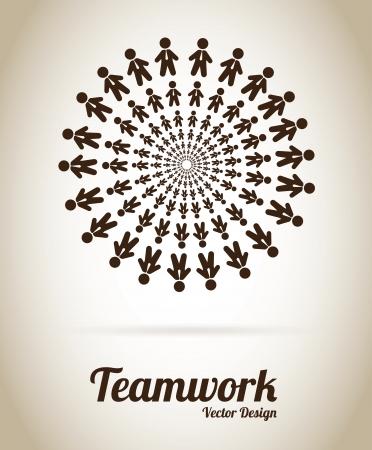 Illustration pour Teamwork design over gray background vector illustration  - image libre de droit