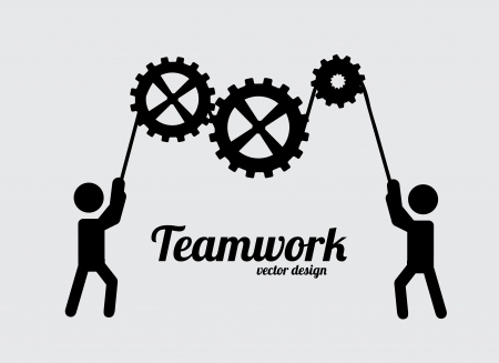 Illustration for teamwork design over gray background vector illustration - Royalty Free Image