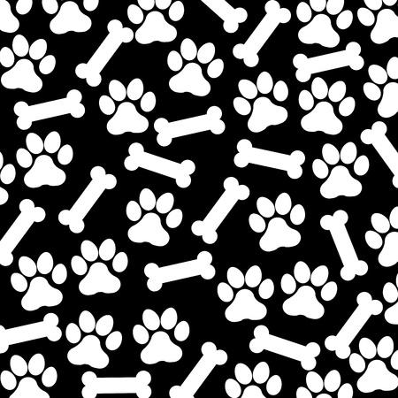 Illustration pour footdog and bone over black background vector illustration  - image libre de droit