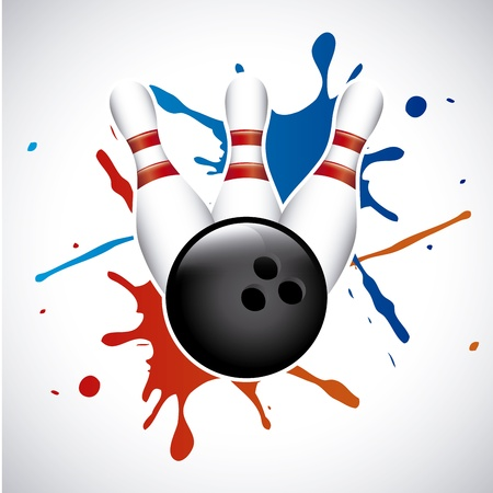 bowling splash over gray background vector illustration