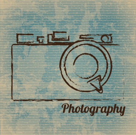 Ilustración de photographic camera drawn freehand over vintage background vector illustration - Imagen libre de derechos