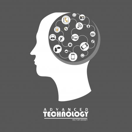 Illustration pour advanced technology over gray background vector illustration  - image libre de droit