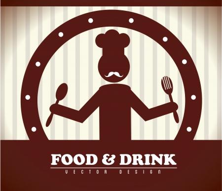 Ilustración de food and drink over brown background vector illustration  - Imagen libre de derechos