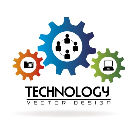 Illustration pour technology gears over white background vector illustration  - image libre de droit