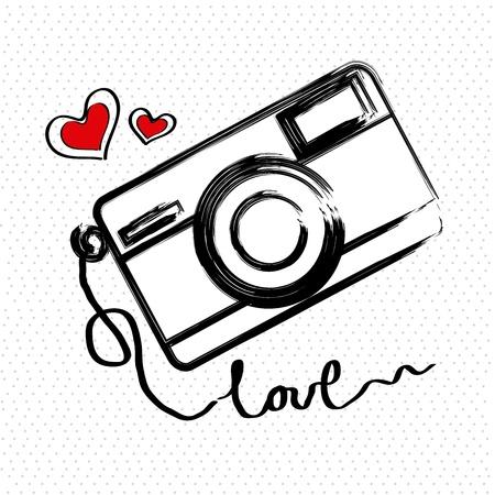Illustration pour i love photographic over white background vector illustration   - image libre de droit