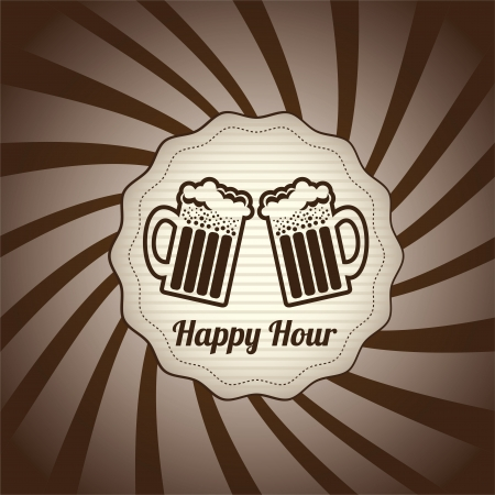 happy hour design over grunge background vector illustration  mural