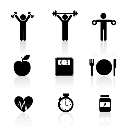Ilustración de fitness icons over white background vector illustration   - Imagen libre de derechos